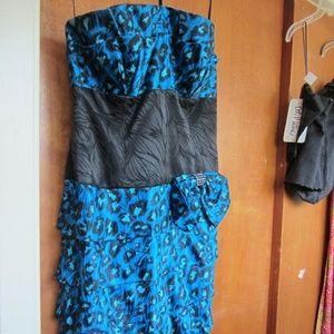 A.J BARI TURQUOISE LEOPARD PRINT COCKTAIL DRESS
